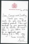 ROYALTY LETTER QUEEN ELIZABETH II's DAUGHTER PRINCESS ANNE MARRIAGE MARK PHILIPS 1971 Fine original