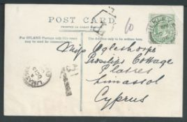"Cyprus 1933 Picture postcard from England to Platres franked 1/2d, handstamped ""T"" with ""1C.P"" charg"