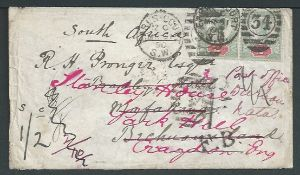Bechuanaland / South Africa / G.B. - Postage Dues 1890 Cover from London to Mafeking franked 2d pair
