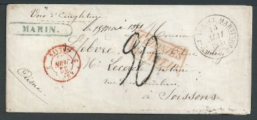 """French Colonies - Martinique 1851 Cover to France with blue framed """"MARIN"""" (Jamet type 1, recorde..."""