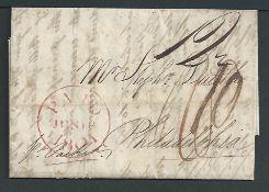 G.B. - London/Transatlantic 1801 Entire letter from London to Philadelphia prepaid 1/10 with an unus