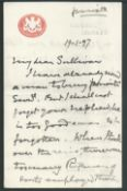 G.B. - Military 1895-97 Group of five autograph letters signed by Field Marshal Viscount Wolseley...