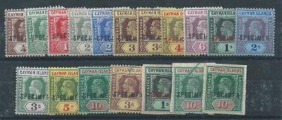 """Cayman Islands 1912-20 King George V set of 13 values, all overprinted """"SPECIMEN"""""""