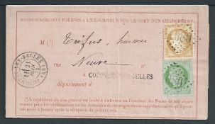 France 1873 Notice of Receipt of a registered letter franked 5c and 15c, the inside bearing various