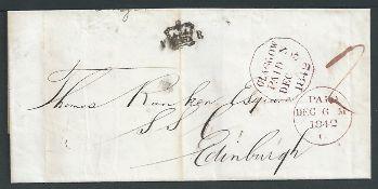 "G.B. - Scotland 1842 Entire (vertical file fold) prepaid 2d from Glasgow to Edinburgh, with ""V (Cr"