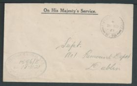 G.B. - Ireland 1921 Stampless O.H.M.S. Cover addressed to No. 1 Remount Depot, Dublin, with oval of