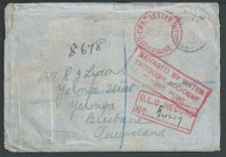 Australia/Crash Mail 1938 (Nov. 23) Registered Cover from England to Australia, recorded from the fl