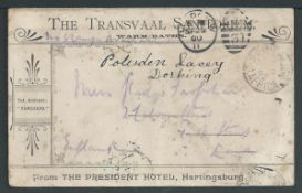 Boer War 1900 Stampless OAS cover from Army P.O. to UK advertising the Transvaal Sanitorium. Warm b