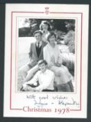 Royalty Christmas Card From Angus & Alexandra Ogilvy 1978 Fine Christmas Card From The Queen's Cou