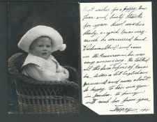 Royalty Imperial Prussian German Baby In Bonnet Photo Postcard Signed Toppsy 1911 Charming Photo...