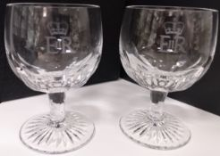 Royalty Pair Of Wine / Cocktail Goblets E2R Superb Pair Of Goblets With Crown And Eiir Etchings. C