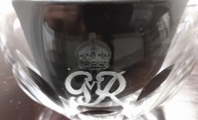 Royalty Peanut / Bombay Mix Glass Bowl G Vi R King George Vi With Crown Etching