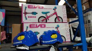 4 Items Ð 2 X Evo Balance Bike & 2 X One23 Kids Helmet