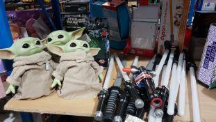 Star Wars Set Ð 3 x Baby Yoda Dolls, 1 X Rogue One Death Star Light & 13 X Light Swords