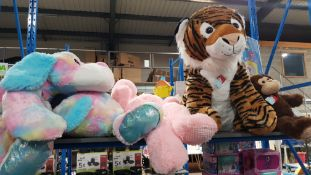 5 X Mixed Plush Soft Toys To Include Giant Tiger, 2 X Giant Dog & 1 X Large Hippo