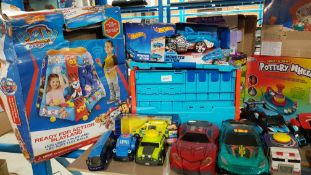 14 Items - Mixed Toys To Include Paw Patrol Playland, Hot Wheels Garage & Hot Wheels Monster Ac...