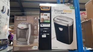 2 Items - 1 X Fellowes Power Shredder & 1 X Fine Elements 1500W PTC Fan Heater