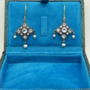 Drop earrings set with blue topaz, pearls and seed pearls in an Edwardian style, with stylish box.