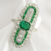 Platinum emerald and diamond dress / cocktail ring.