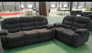Brand new boxed 3 seater plus 2 seater miami fabric reclining sofas