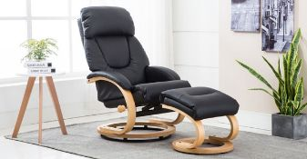 Brand new boxed Gfa livia black leather reclining swivel chair and footstool
