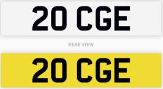 20 CGE number plate / car registration