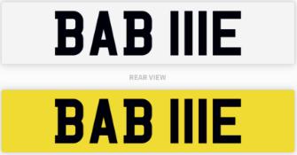 BAB 111E number plate / car registration