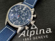Alpina - Chronograph sporty blue dial swiss made new in box