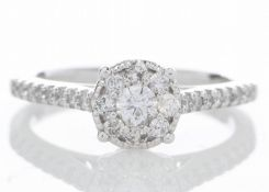 9ct White Gold Flower Cluster Diamond Ring 0.50 Carats