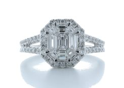 18ct White Gold Single Stone With Halo Setting Ring 1.20 Carats