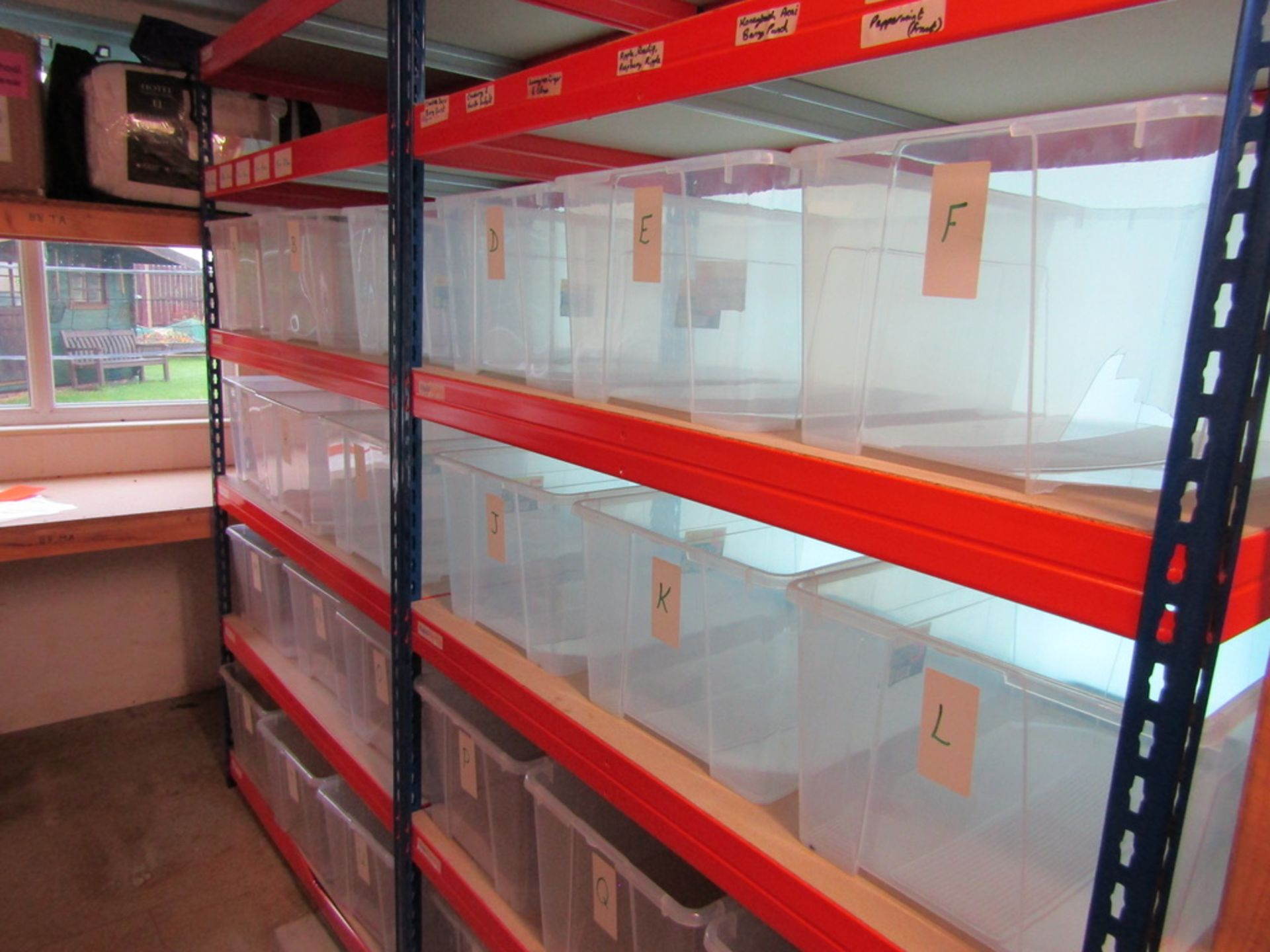2 Bays of Racking with Storage Boxes. USED