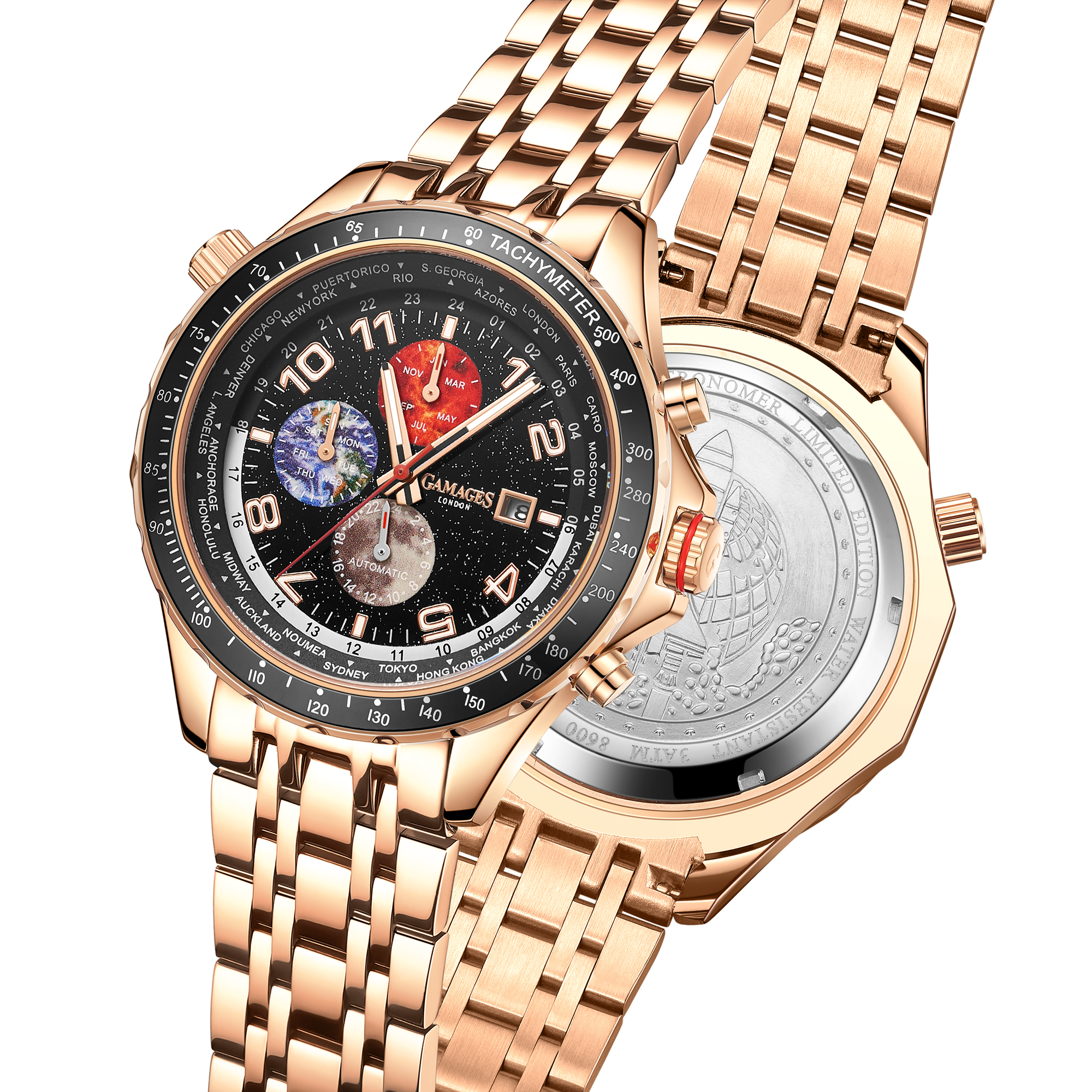 Limited Edition Hand Assembled GAMAGES Astronomer Automatic Rose – 5 Year Warranty & Free Delivery - Image 4 of 4
