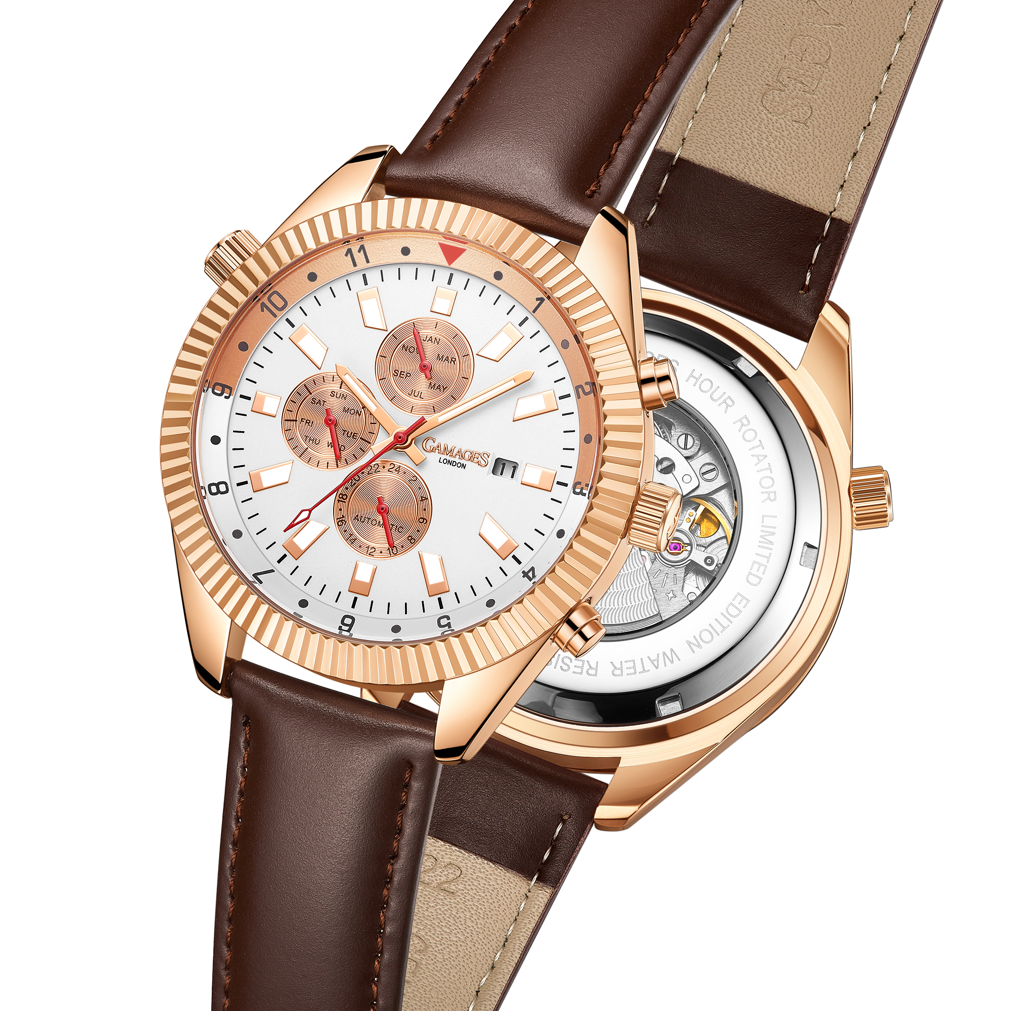 Limited Edition Hand Assembled GAMAGES Hour Rotator Automatic Rose – 5 Year Warranty & Free Delivery - Image 5 of 5