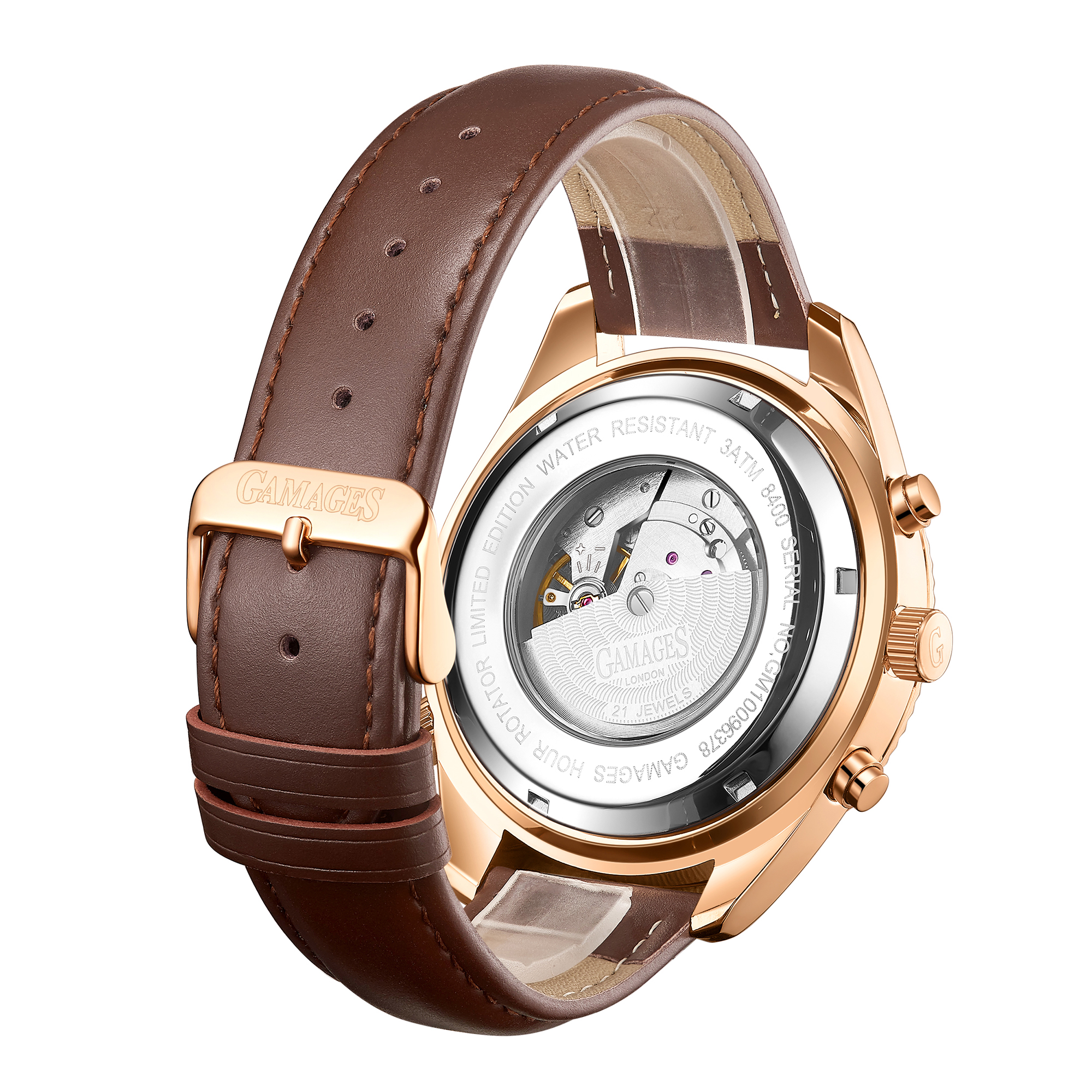 Limited Edition Hand Assembled GAMAGES Hour Rotator Automatic Rose – 5 Year Warranty & Free Delivery - Image 4 of 5