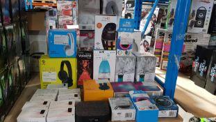 24 Items - Mixed Lot To Include He Lantern Flame Speaker, Swipe Wireless Headphones, He Lante...