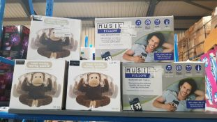 5 Items - 3 X The \source Magic Moving Monkey Speaker & 2 X Music Pillow