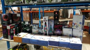 26 Items - Mixed Lot To Include 10 X He Lightshow Water Speakers, 3 X Molten Lamp, Twister Lam...