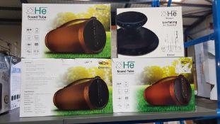 4 Items - 3 X He Bluetooth Sound Tube Outdoor Speaker & 1 X He Hexagon Levitating Air Speaker