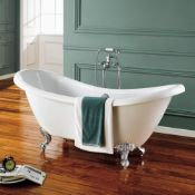 NEW (N4) 1700x700mm Cambridge Traditional Roll Top Double Slipper Bath- 2 Tap Holes - Chrome B...
