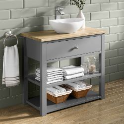 NEW 800mm Sutton Earl Grey Counter Top Vanity Unit - Open Storage. RRP £2,249.MF3000.Sutton Co...