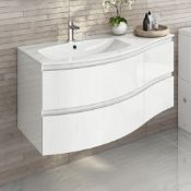 NEW & BOXED 1040mm Amelie High Gloss White Curved Vanity Unit - Left Hand - Wall Hung. RRP £1,...