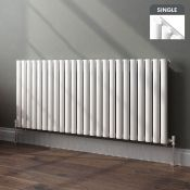 (SA115) 635x1440mm Gloss White Single Panel Oval Tube Horizontal Radiator. RRP £431.99.Made f...