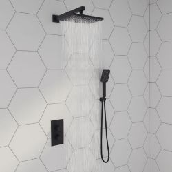 New & Boxed Square Concealed Thermostatic Mixer Shower Kit & Large Head, Matte Black.Rrp £499....