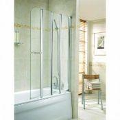 (SA105) Twyford Geo6 4-Fold Bath Screen G61978CP. RRP £354.99.Polished silver frame finish. ...