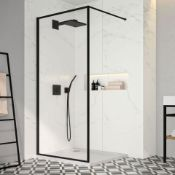 NEW (N10) 1200mm -8mm- Designer Black Framed Wetroom Panel. The framed beauty that is the Bla...