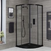 New (O36) 800X800mm Double Door Quadrant Black Enclosure. Rrp £335.20. 6mm Toughened Safety Gl...