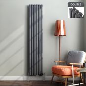 1800X360mm Anthracite Double Oval Tube Vertical Radiator. Rrp £469.99.Made From High Quality ...