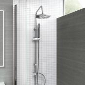 New & Boxed Modern Chrome Riser Rail Mixer Round Shower Head Kit For Bath Tap. Sp5105. Chrome E...