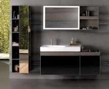 New & Boxed Twyfords Keramag Citterio 1200mm Dark Grey/Brown Vanity Unit With Shelves. Rrp £1...