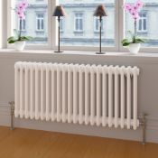 (O164) 600X1042mm White Double Panel Horizontal Colosseum Traditional Radiator. Rrp £530.99.M...